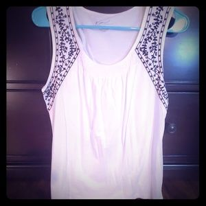 Kim Rogers - Embroidered white tank